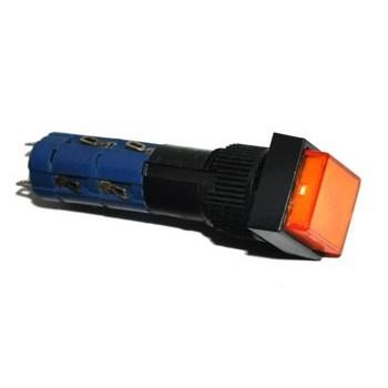 Druk Schakelaar 2x Wissel Vierkant met LED Oranje