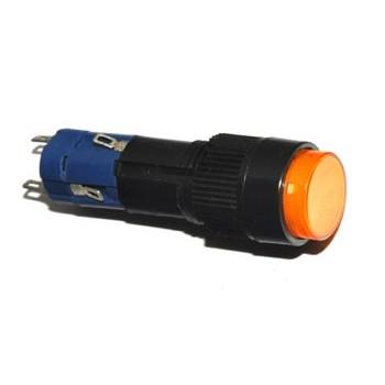 Druk Schakelaar 1x Wissel Rond met LED Oranje