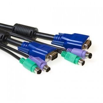3-in-1 aansluitkabel voor KVM VGA PS/2 aansluitingen 5m