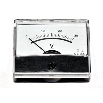 Paneelmeter Analoog Spiegelschaal 30V DC