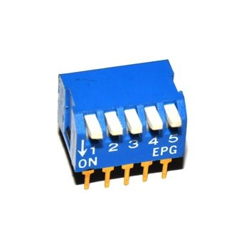 DIP switch 5 polig Haaks