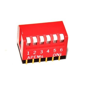 DIP switch 6 polig Haaks