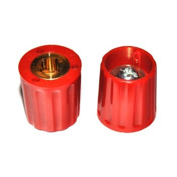 Spantang 15mm Knop Rood Glanzend As=4mm