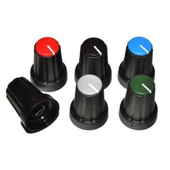 Knop Zwart met Rode Dop 11mm