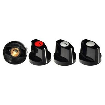 Knop Zwart met Dop Grijs 24mm